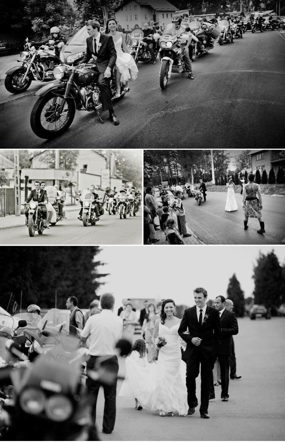 Czarno Białe Zdjęcia Ślubne z Motocyklami
