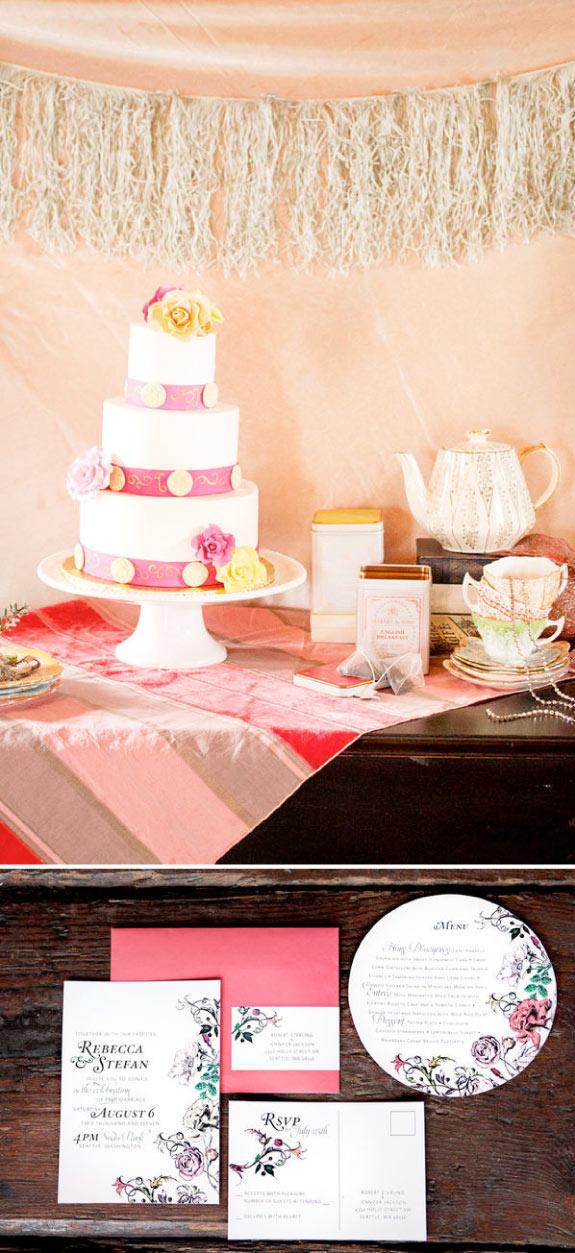 Piękne Zaproszenia na Ślub, Styl Angielski Ogród
