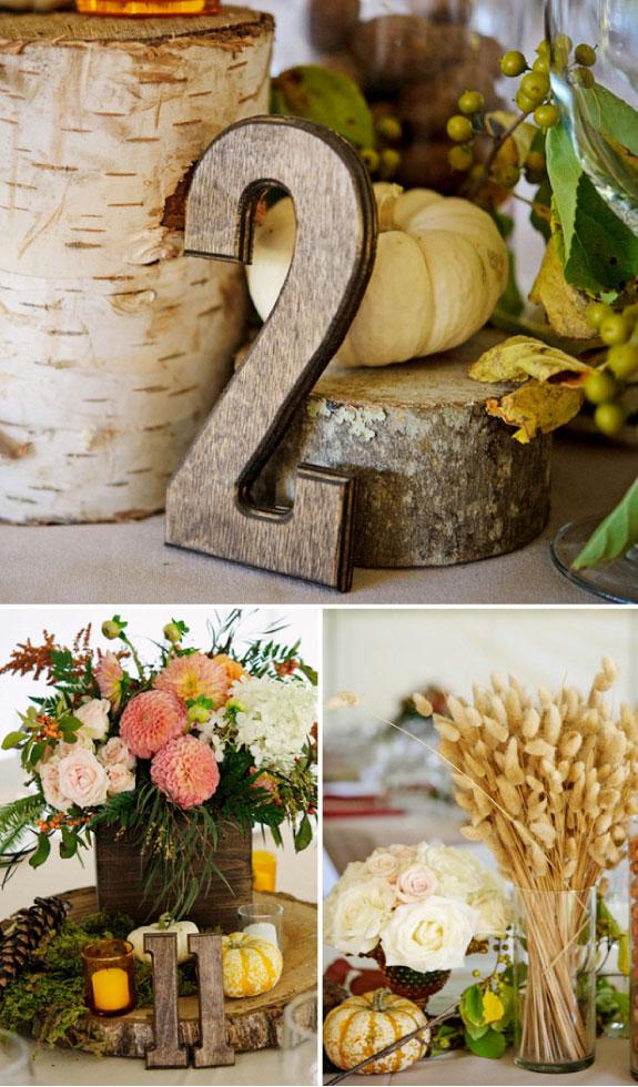Numery na stół, bukiety na stołach, dekoracje stołów