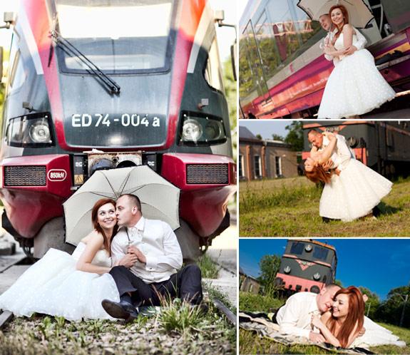 Plener ślubny w Zajezdni Kolejowej między pociągami