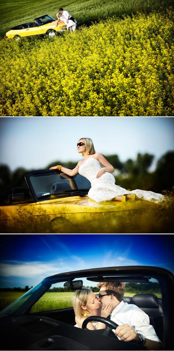 Zdjęcia ślubne na polu rzepaku, wśród żółtych kwiatów