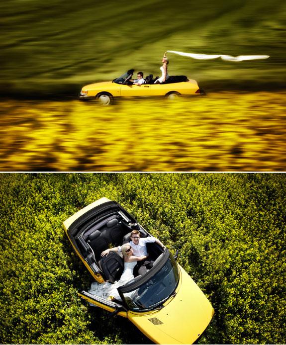 Zdjęcia Ślubne z Żółtym Samochodem