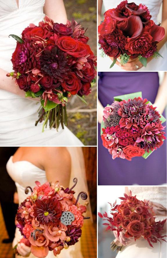 Bordowe Bukiety Ślubne z Róż i Chryzantem