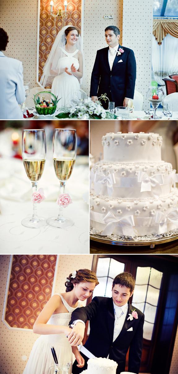 Tort Ślubny Zdobiony Lukrowymi Kwiatuszkami, Kwiatki na Kieliszkach