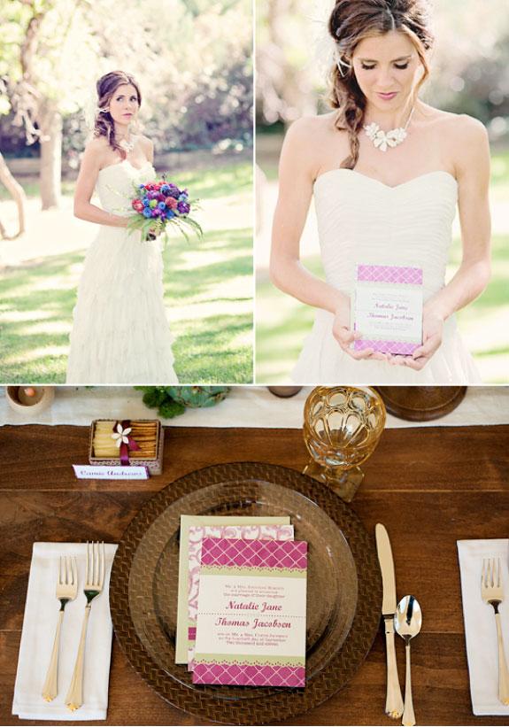 Biała Suknia Ślubna i Kolorowy Bukiet, Fioletowe Zaproszenia