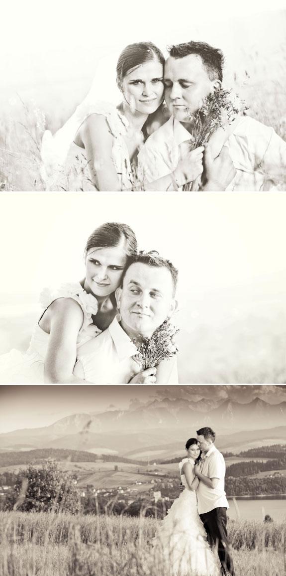 Czarno Białe Zdjęcia Ślubne na Łace w Górach