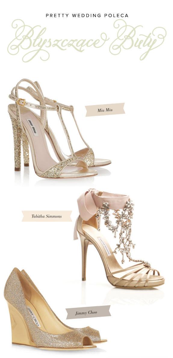 Błyszczące szpilki, złote i srebrne buty