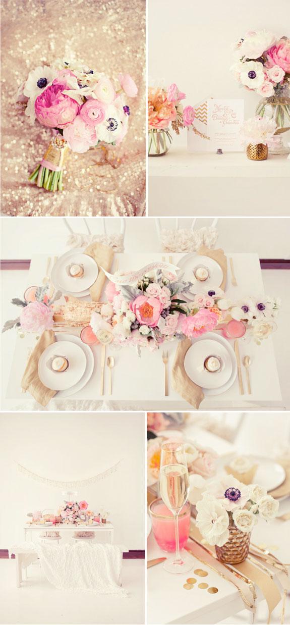 Bukiet ślubny w kolorach pudrowego różu, różowe dekoracje stołu