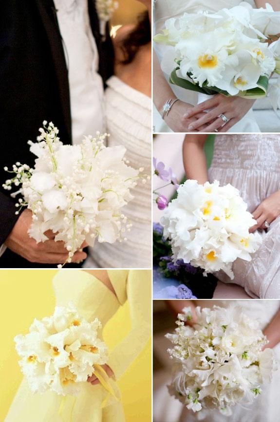 Bukiety Ślubne z Białych Storczyków i Konwalii
