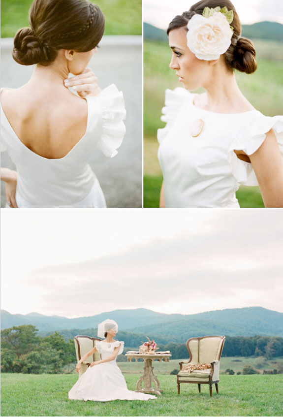 Włosy spięte w Kok i Kwiaty We Włosach na Ślub