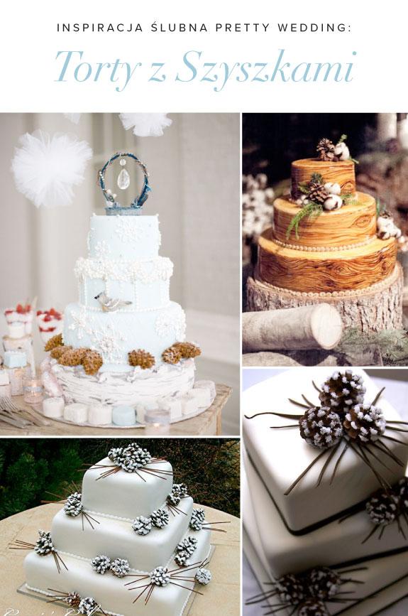 Pomysł na Tort Ślubny Dekorowany Szyszkami