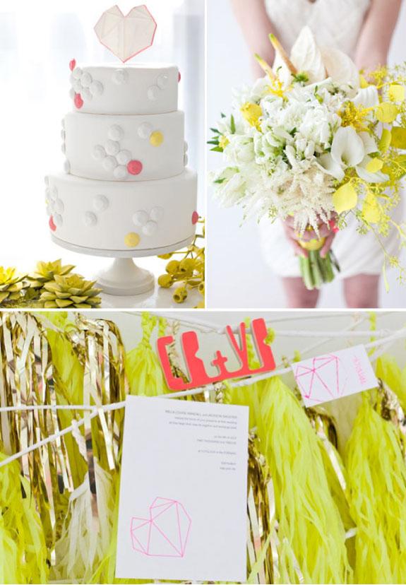 Piękny Biało Żółty Bukiet Ślubny i Nowoczesny Piętrowy Tort Weselny