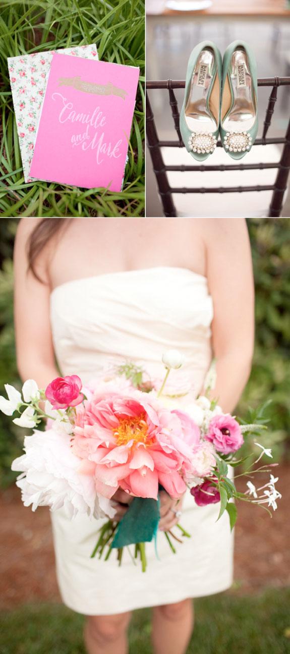 Ślub w Stylu Marii Antoniny, Różowe Zaproszenia Ślubne i Niebieskie Buty