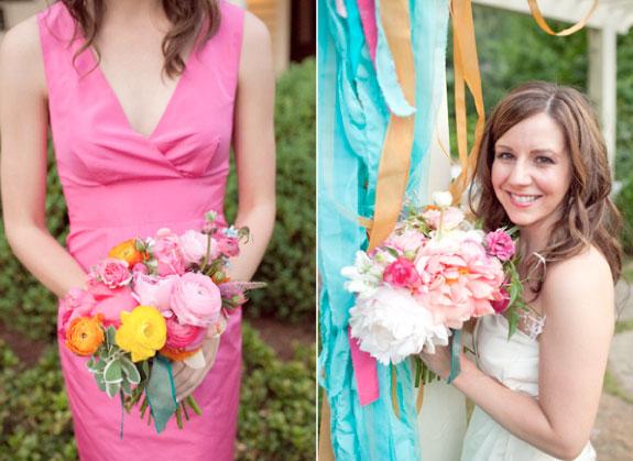 Bukiet Ślubny z Różowych Piwonii i Róż