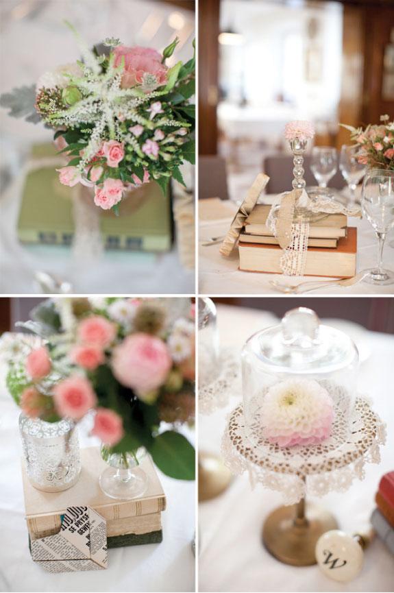 Elegancka dekoracja stołów w delikatnym różowym kolorze i piękne kryształowe kieliszki