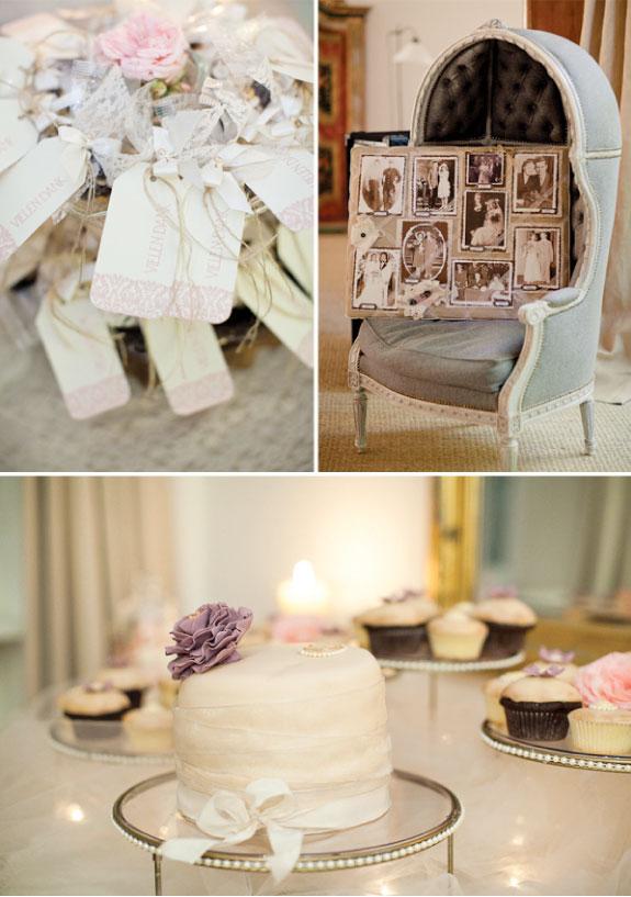 Album weselny w stylu vintage i ciasta oraz ciasteczka dla gości