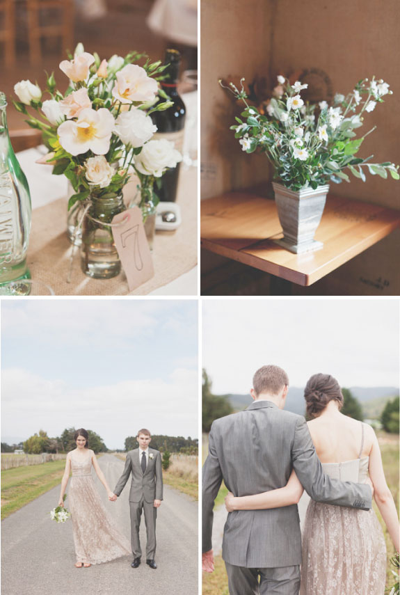 Polne Kwiaty Na Stołąch Weselnych na Weselu w Stylu Rustykalnym