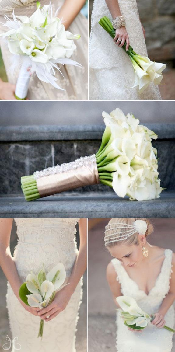 Bukiet Ślubne z Kalii w Białym Kolorze