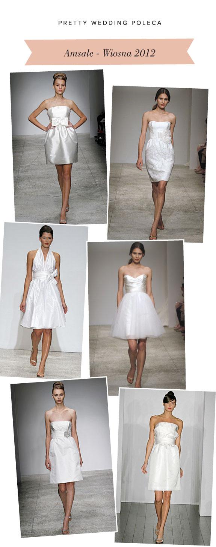 Suknie Ślubne w Kolano z Kokardami od Amsale z Kolekcji Wiosna 2012