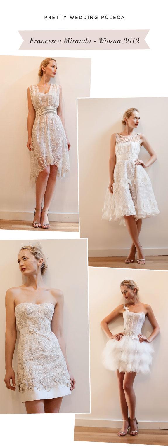 Krótkie Koronkowe Suknie Ślubne Na Wiosnę, Francesca Miranda wiosna 2012