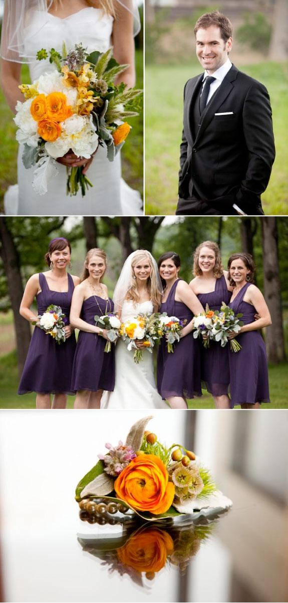 Ślub w Kolorach Żółto Zielono Fioletowych, bukiety i suknie druhen