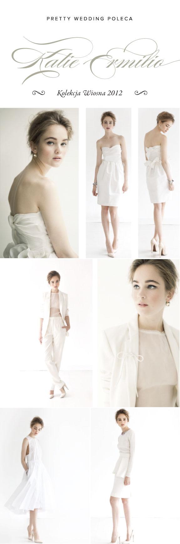 Białe Kobiece Suknie od Katie Ermilio z Kolekcji 2012