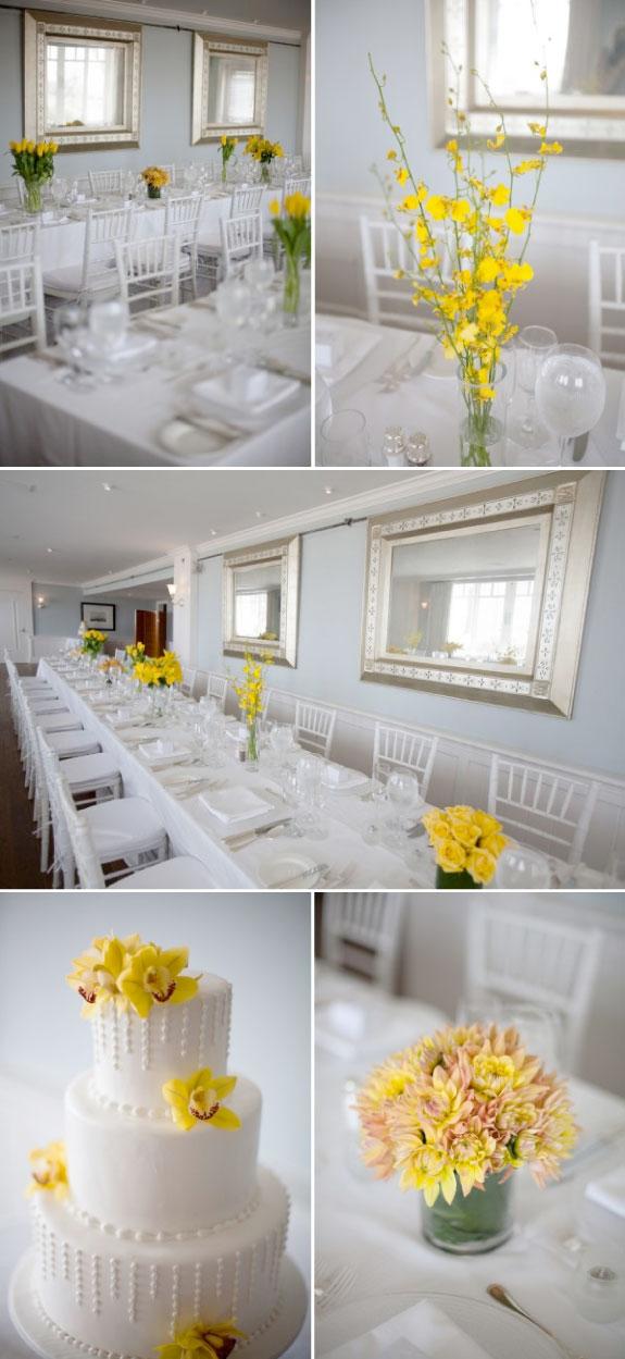 Żółte Bukiety Ślubne na Stołach Weselnych, Biały Piętrowy Tort zdobiony żółtymi kwiatami