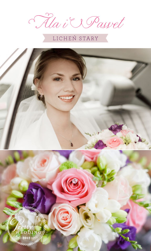 Filoletowo Różowy Bukiet Ślubny