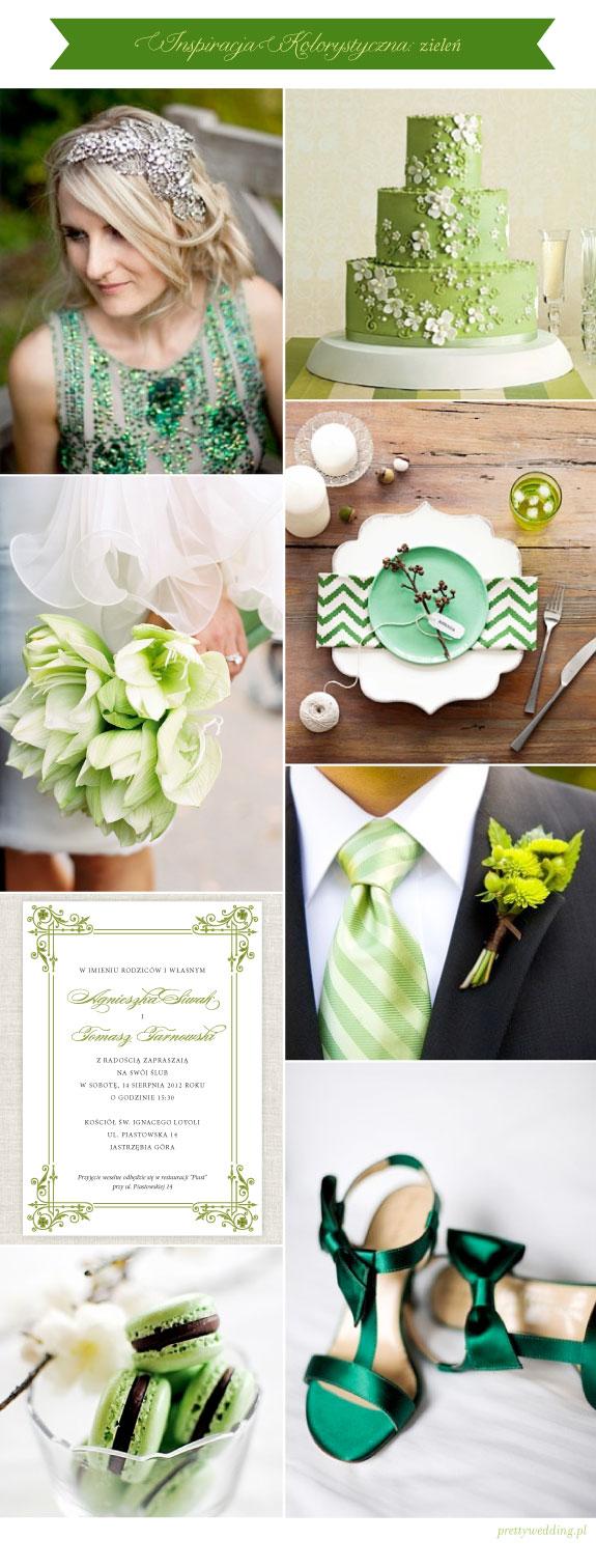Zielony Tort i zielone bukiety oraz zielone zaproszenia na ślub