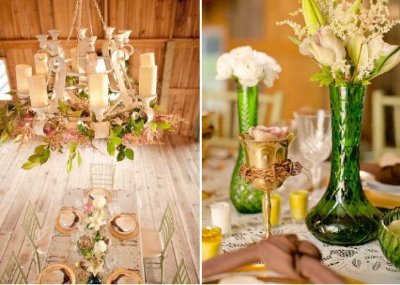 Dekoracje stołów oraz bukiety na stołach i dekoracje lamp