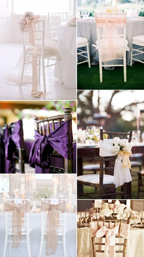 Dekoracja stołów weselnych - krzesła przewiązane kokardą