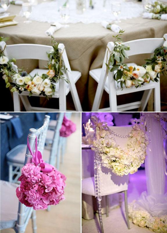 Krzesła dekorowane świeżymi kwiatami