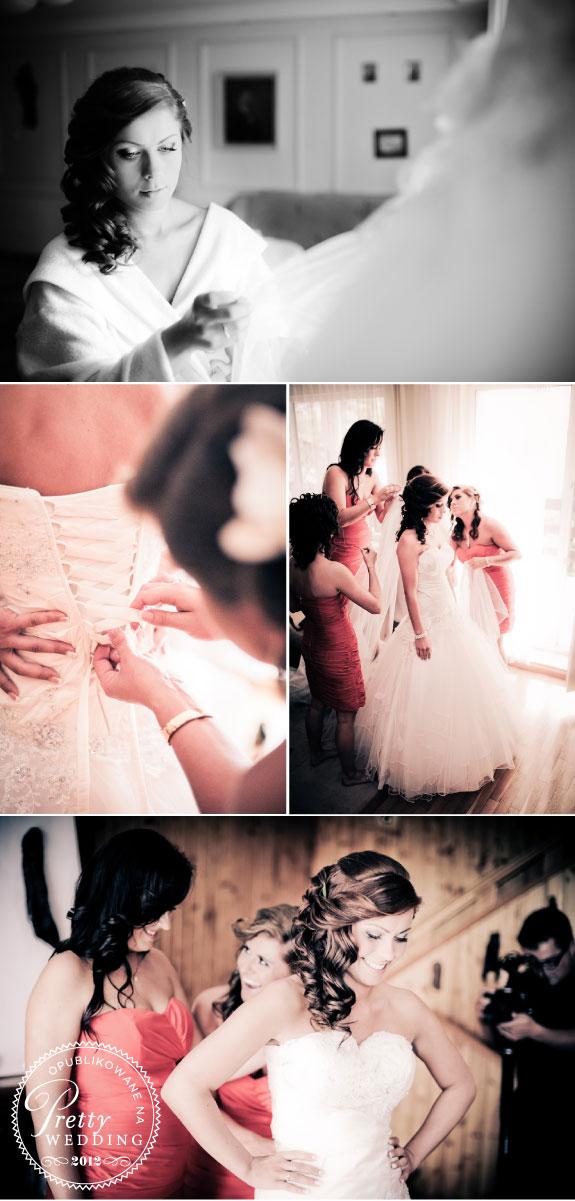 Wiązanie sukni ślubnej i upinanie włosów