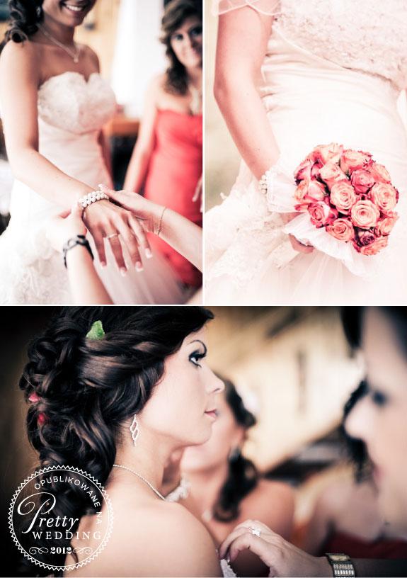 Bukiet ślubny z czerwonych herbacianych róż