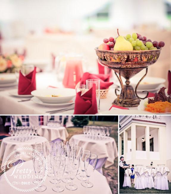 Owoce na stołach weselnych i kieliszki do szampana