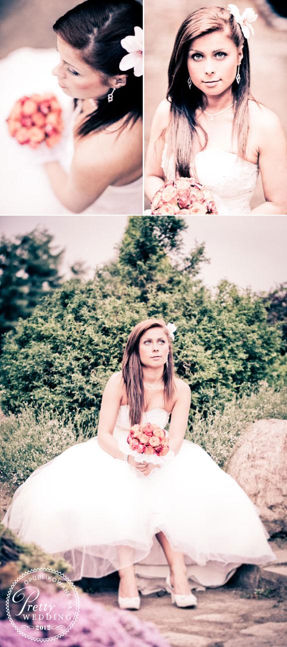 Zdjęcia Panny Młodej w Plenerze z Kwiatami We Włosach
