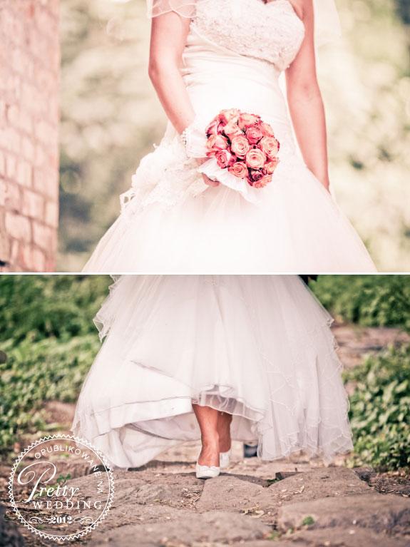 Suknia ślubna i bukiet z róży w kolorze herbacianym