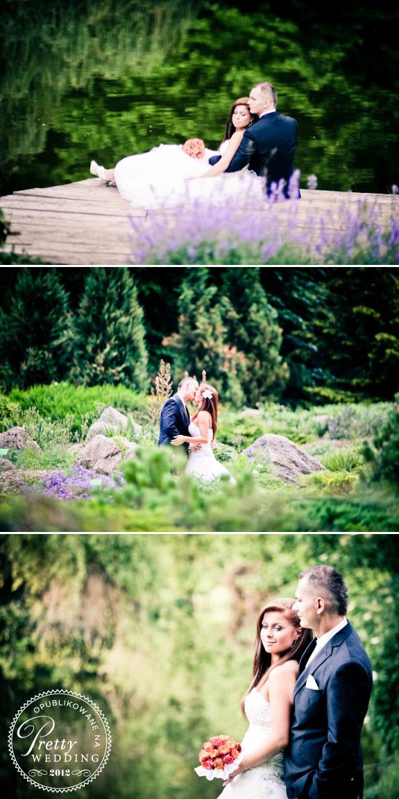Plener Ślubny w Parku, w pięknym zielonym otoczeniu i jeziorka