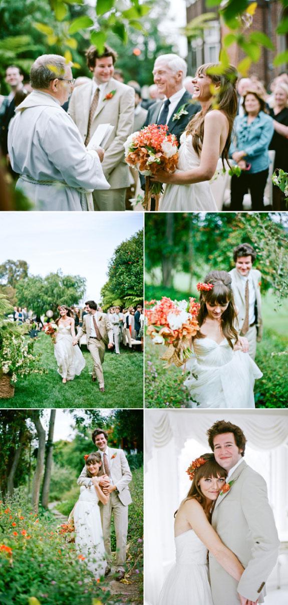 Biało pomarańczowy bukiet ślubny