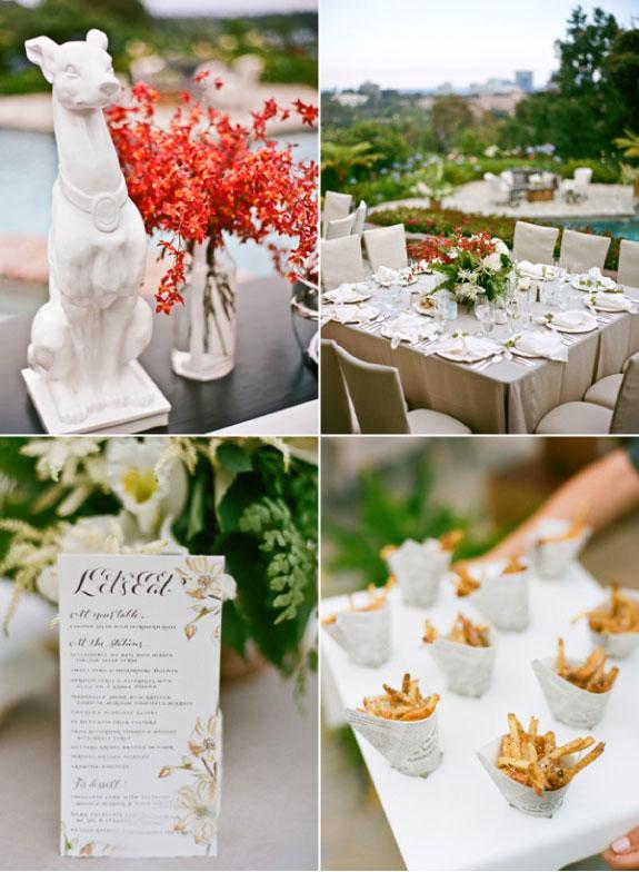 Dekoracje stołów i pomarańczowe bukiety na stołach