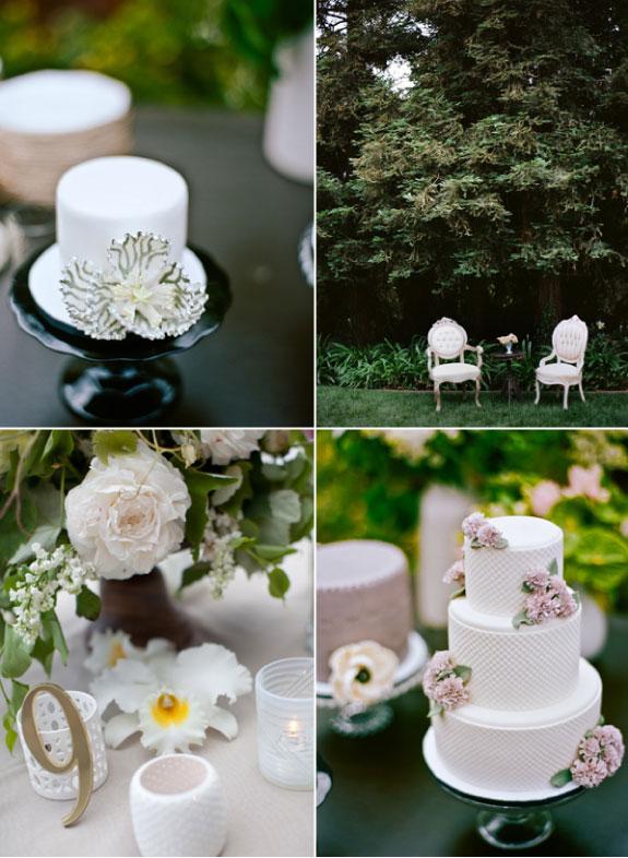 trzy piętrowy tort weselny dekorwany kwiatami