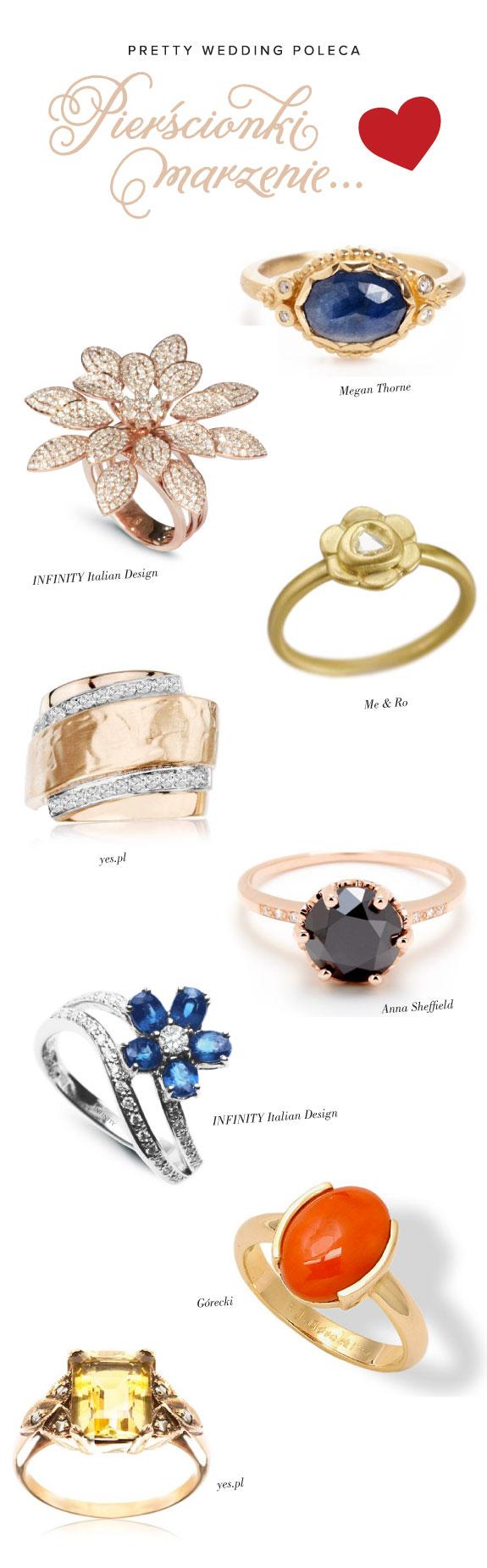 Piękne zaręczynowe pierścinki, biżuteria jak marzenie