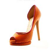 Shoe Obsession - pomarańczowe buty z wężowej skóry Nicholasa Kirkwooda