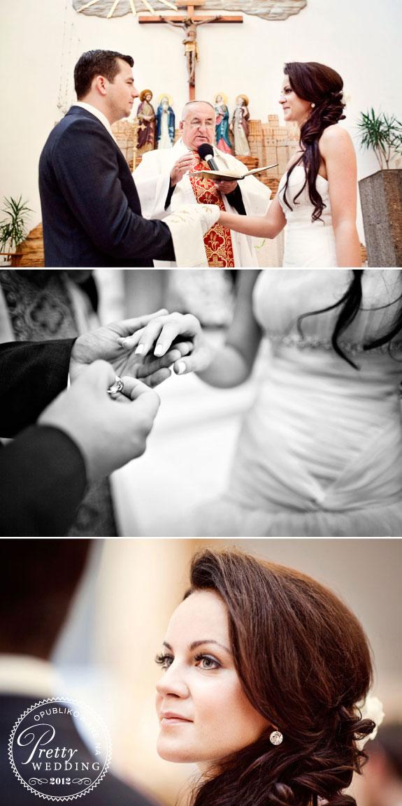 Przysięga małżeńska w kościele, nakładanie obrączek