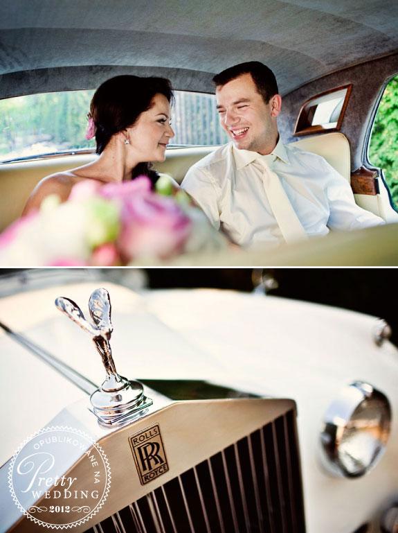 Państwo Młodzi w samochodzie, Rols Royce do ślubu