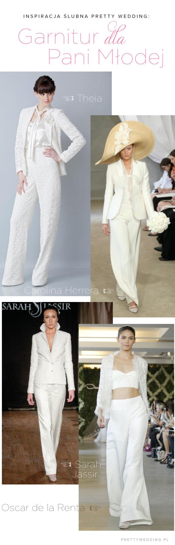 Pani Młoda w białym garniturze na ślubie