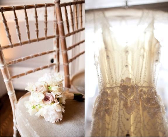Biały bukiet ślubny i suknia Jenny Packham