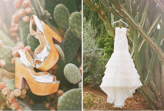 srebrne buty ślubne z zółtą podeszwą i biała suknia ślubna