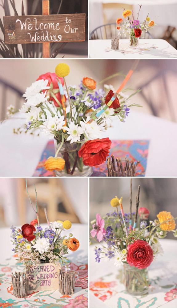 dekoracja stołów ze świeżych kwiatów