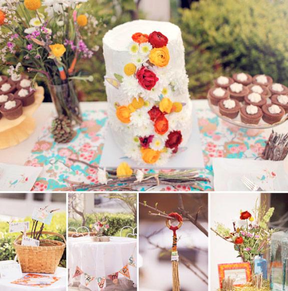 Biały tort udekorowany żywymi kwiatami